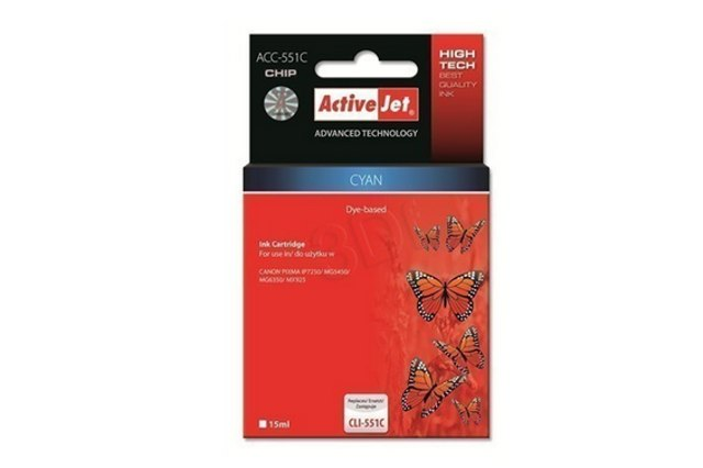 ActiveJet CLI-551 Cyan modrá cartridge 15ml s čipem