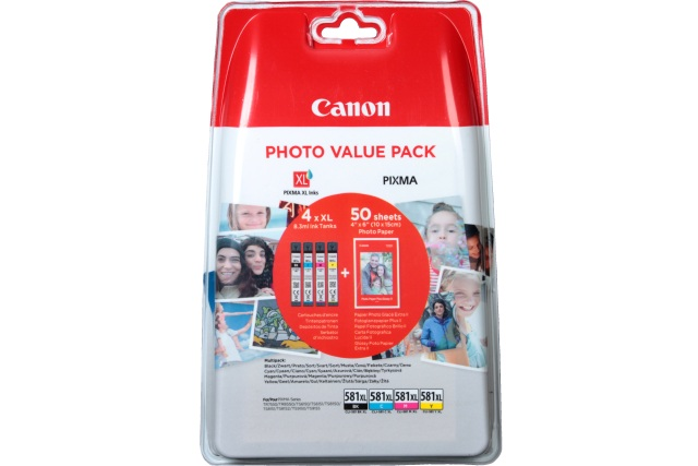 CANON CLI-581XL Bk/C/M/Y Photo Value Pack s 50 papíry Canon PP-201 10x15cm