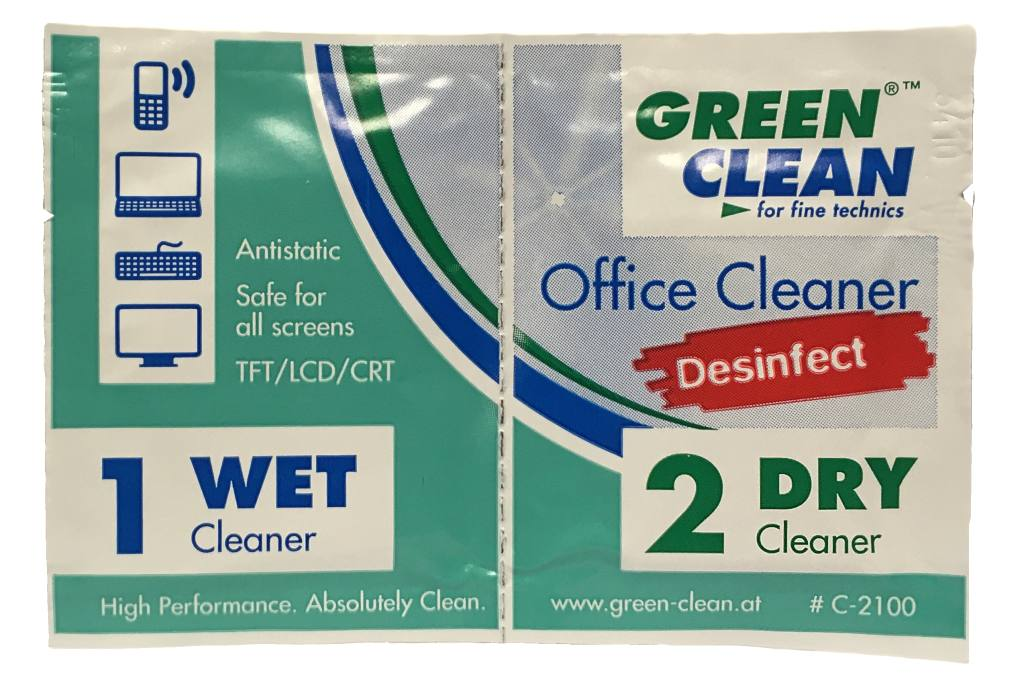 GREEN CLEAN Office Cleaner Desinfect, 1 pár desinfekčních utěrek