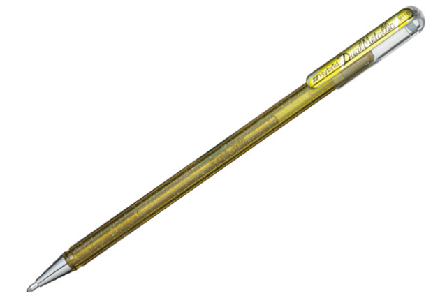 PENTEL Hybrid Dual Metallic 1mm, gelový popisovač Gold  + Metallic Gold