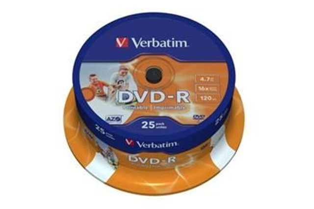 VERBATIM DVD-R (25-Pack) Spindle/Inkjet Printable/16x/4,7GB